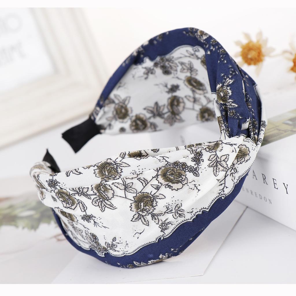 New print knotted cross headband NHHV149516