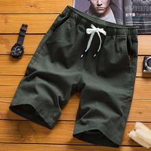 男装新品棉麻短裤韩版?#21487;?#20116;分亚麻男裤修身潮流男式夏装休闲短裤
