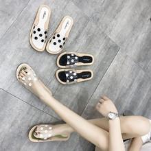 夏季新款韩版圆点室内外女拖鞋 透明时尚防滑软底平底一字凉拖鞋