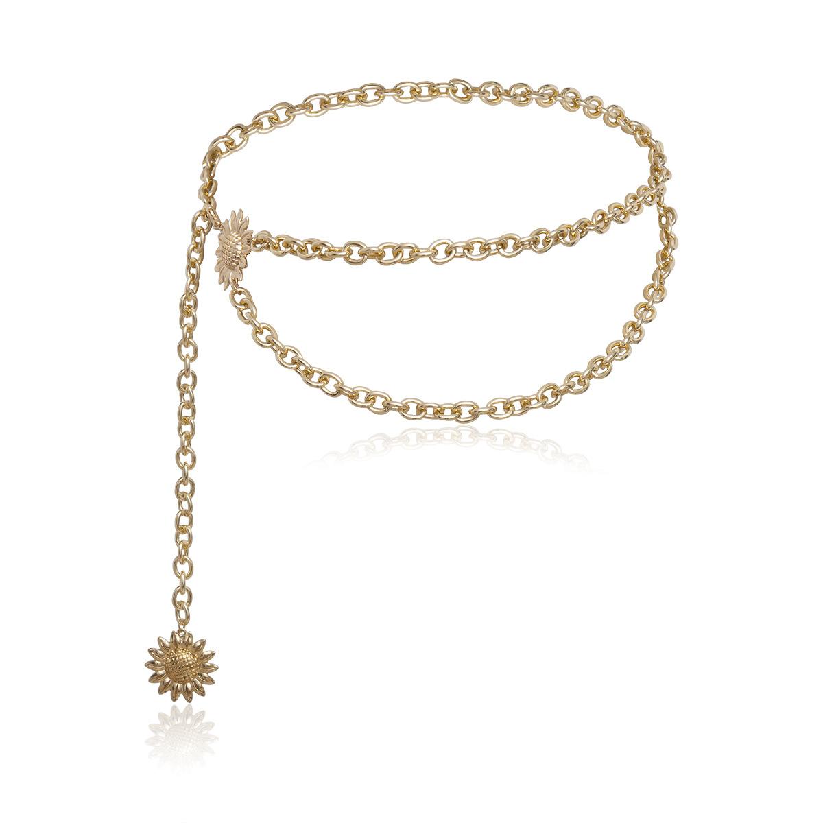 Geometric tassel sun flower U-shaped waist chain NHXR171363