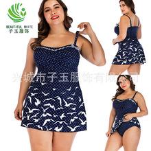 超大碼肥婆泳裝批發 2019歐美新款海鷗圖案保守分體裙式女士泳衣