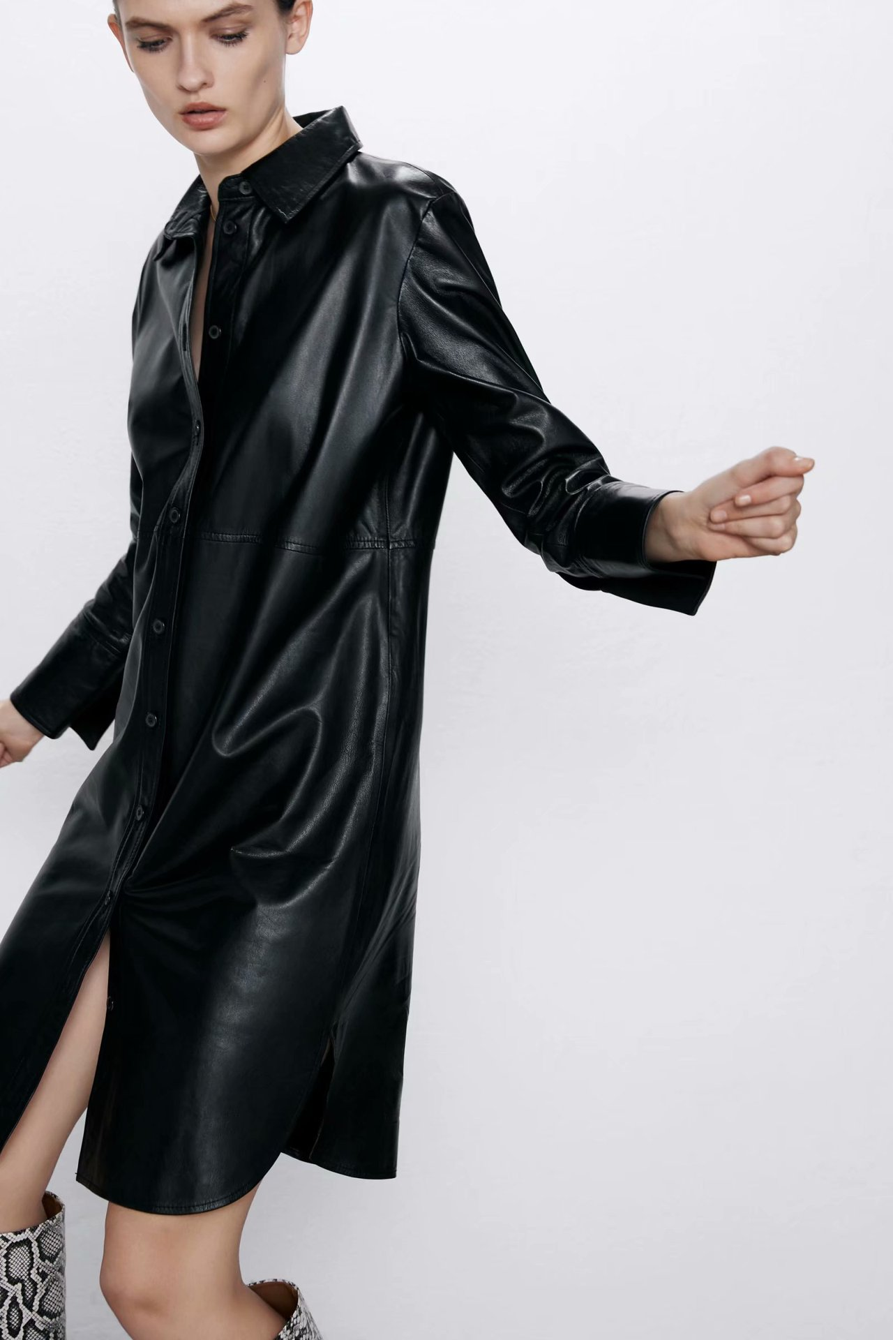 Wholesale winter leather shirt leather dress NHAM184135