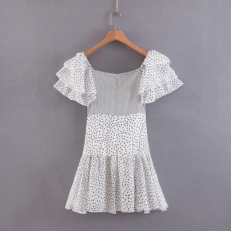 Apparel - 80s Vintage Style Off Shoulder Puff Dot Print Pleated Party Ruffles Summer Dress