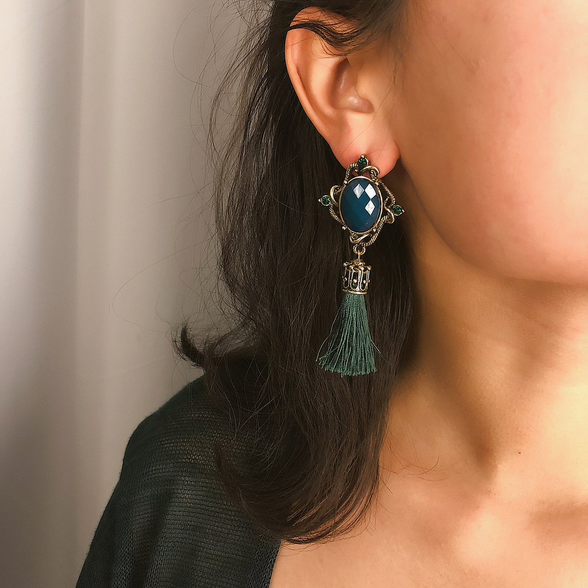 Alloy Bohemia Tassel earring  (Black 1386)  Fashion Jewelry NHXR2798-Black-1386