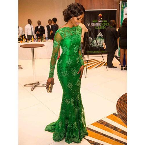 2020 new cross border women's wear Amazon wise long sleeve perspective lace dress mop evening dress new