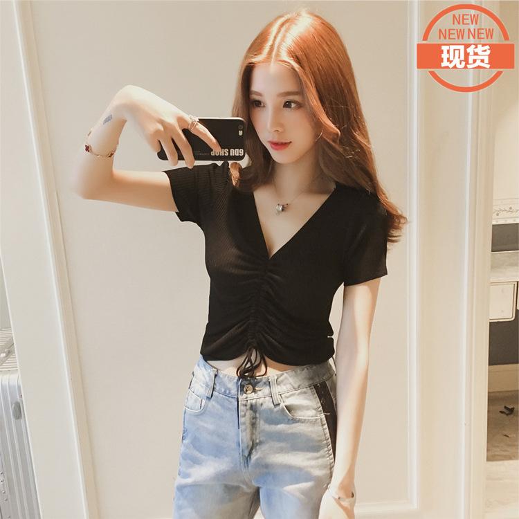 2020夏装韩版抽绳露脐新款性感修身V领针织冰丝短袖t恤女百搭上衣