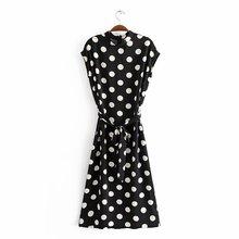 夏季新款女装时尚流行 波点系带拉锁宽松连衣裙g1024