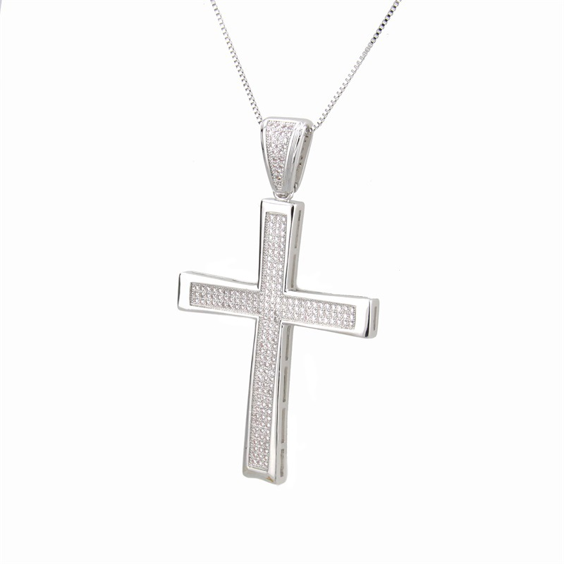 Copper Fashion Cross necklace  (Alloy-plated white zirconium)  Fine Jewelry NHBP0385-Alloy-plated-white-zirconium
