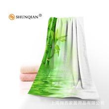 廠家直銷自然風景竹子浴巾旅行溫泉游泳沙灘巾運動毛巾來圖定制