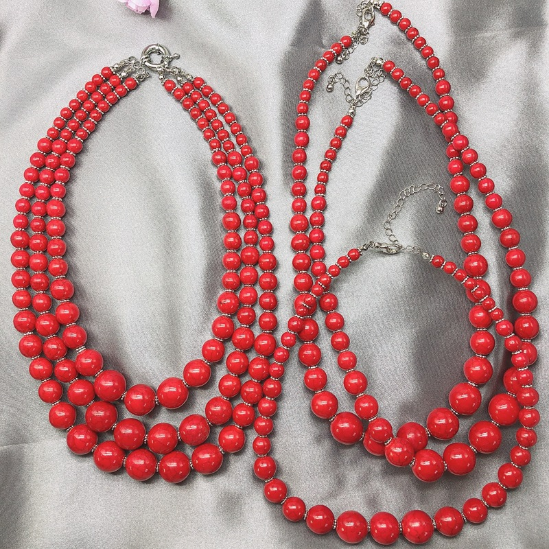 Stone Bead Necklace Three Short Stone Bead Necklace Red Turquoise Necklace Short Necklace NHOM181802