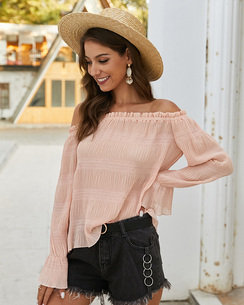 women's spring and summer new one-shoulder long-sleeved top T-shirt  NSKA1030