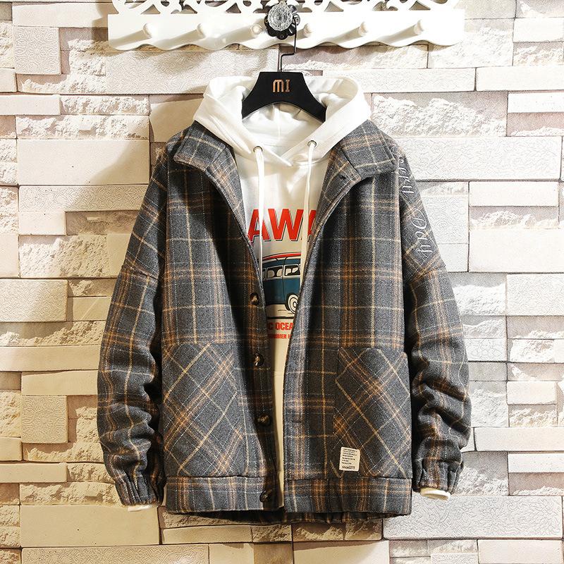 New men's Plaid embroidery Lapel woolen coat large casual woolen coat jacket