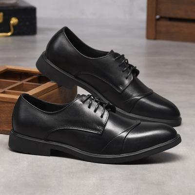 2020新款真皮商务正装皮鞋英伦男士休闲鞋 系带低帮男鞋品牌鞋子