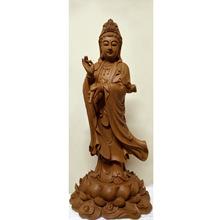 佛具 佛像 佛教用品 佛龛摆件 自在观音  香樟木根雕  滴水观音