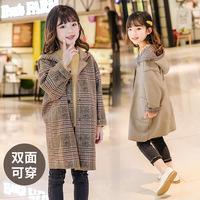 Куртки для девочек, весенне-осенняя одежда, новинка 2020 года, детская двусторонняя одежда в западном стиле для девочек среднего размера, детское весеннее пальто средней длины