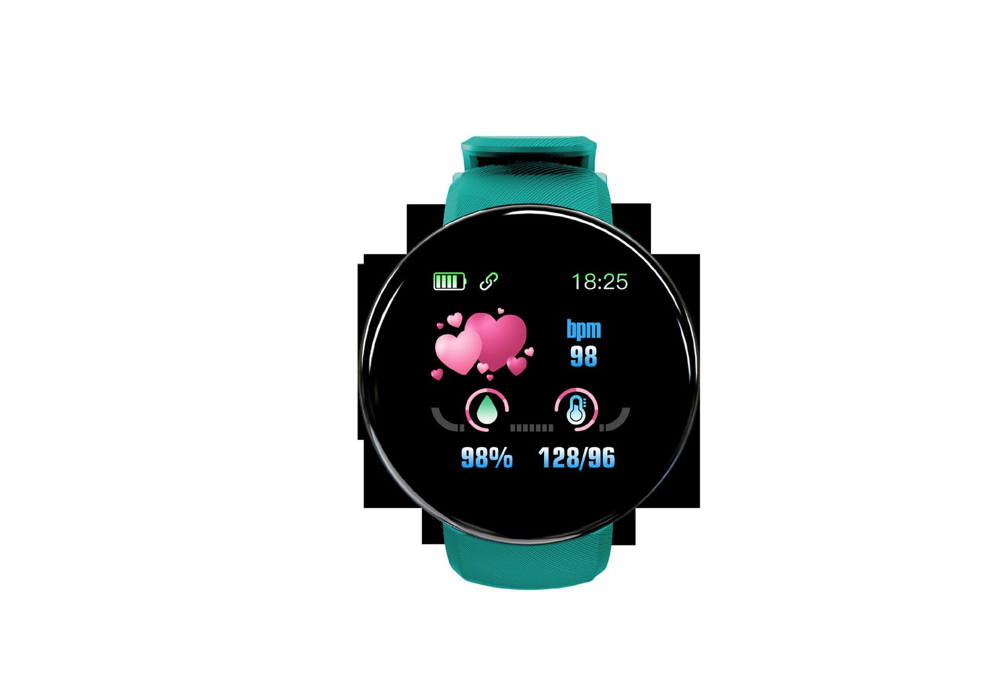 2019新款圆盘D18彩屏智能手环心率血压来电信息防水计步 运动手环