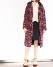940326冬季新款民族風圖案印花加絨棉衣女加厚保暖寬松羊羔毛外套