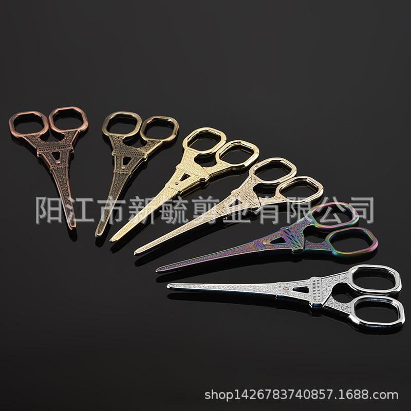厂家热销不锈钢复古剪巴黎铁塔剪美容剪刀线头剪家用下坡工具