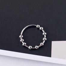 s925銀串珠圓珠戒指簡約藝術活動圓珠設計歐美風格氣質唯美指環女