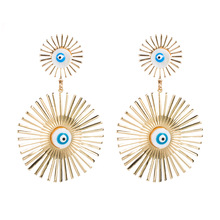Europe and the United States selling bohemian temperament ladies earrings exaggerated round hollow set with colored diamonds women's earrings NHLN190175