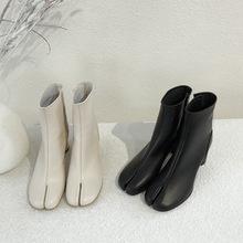 2019秋冬新款歐美復古粗跟分腳趾短靴女時尚高跟羊皮單靴及裸靴