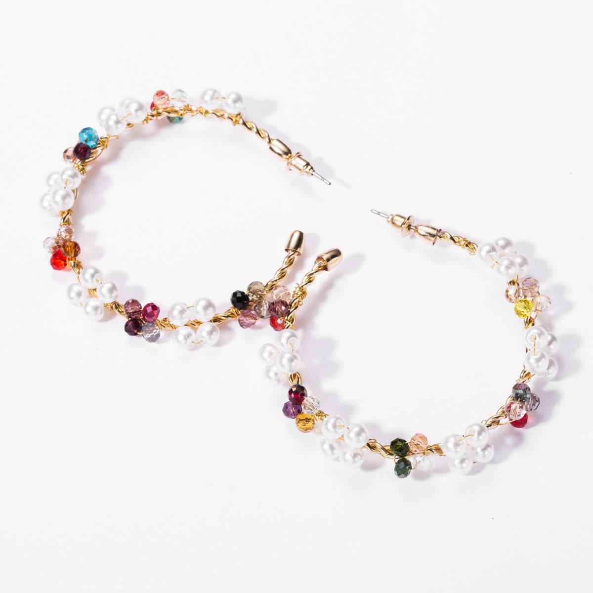 Fashion notched ring imitation pearl glass beads beaded woven earrings female retro boho style earrings NHJE176138