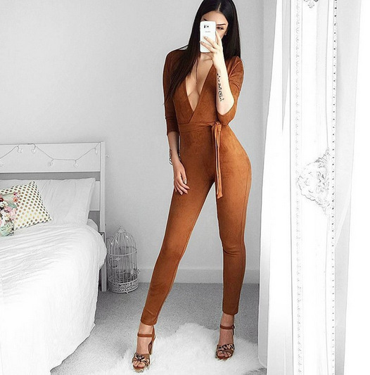 All in one pants sexy deep V one piece bandage pants cross border e-commerce supply quick sell through Amazon