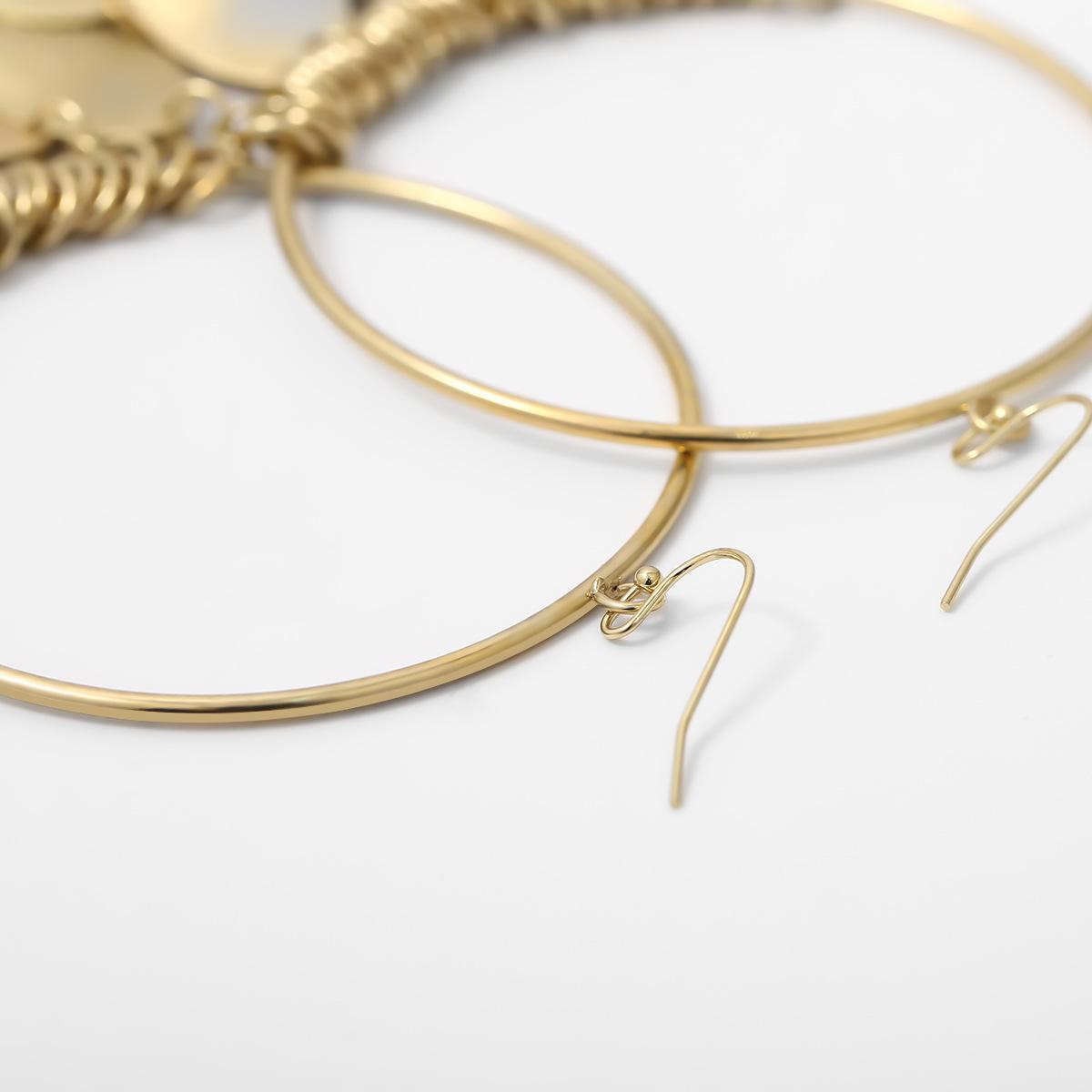 Jewelry Geometric Hollow Ring Earrings Metal Disc Tassel Long Stud Earrings NHXR185510