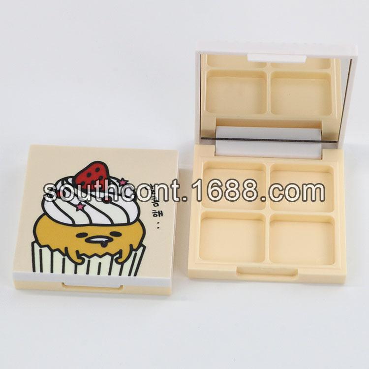 现货方形3D打印卡通图案4色眼影盒6g带镜子空盒包材经典手工DIY