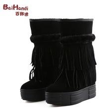 秋冬新款甜美內增高女鞋子時尚中筒流蘇靴中跟圓頭短靴子一件代發