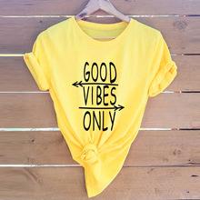 现货! 亚马逊 wish ebay爆款欧美good vibes字母纯棉短袖女T恤