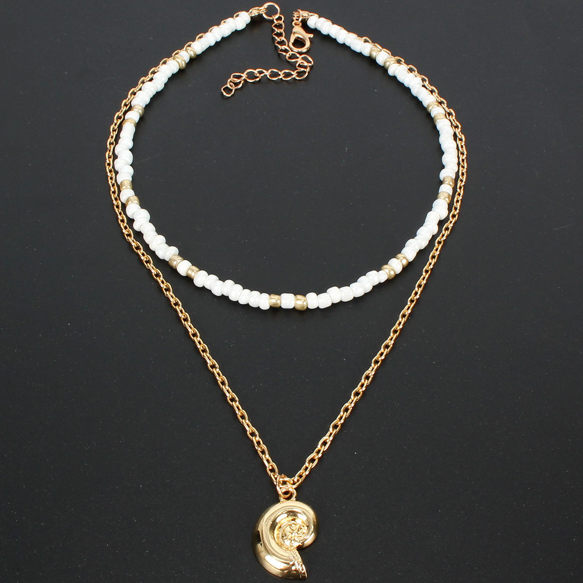White rice pearl conch short clavicle neck chain boho handmade necklace women NHCT181576