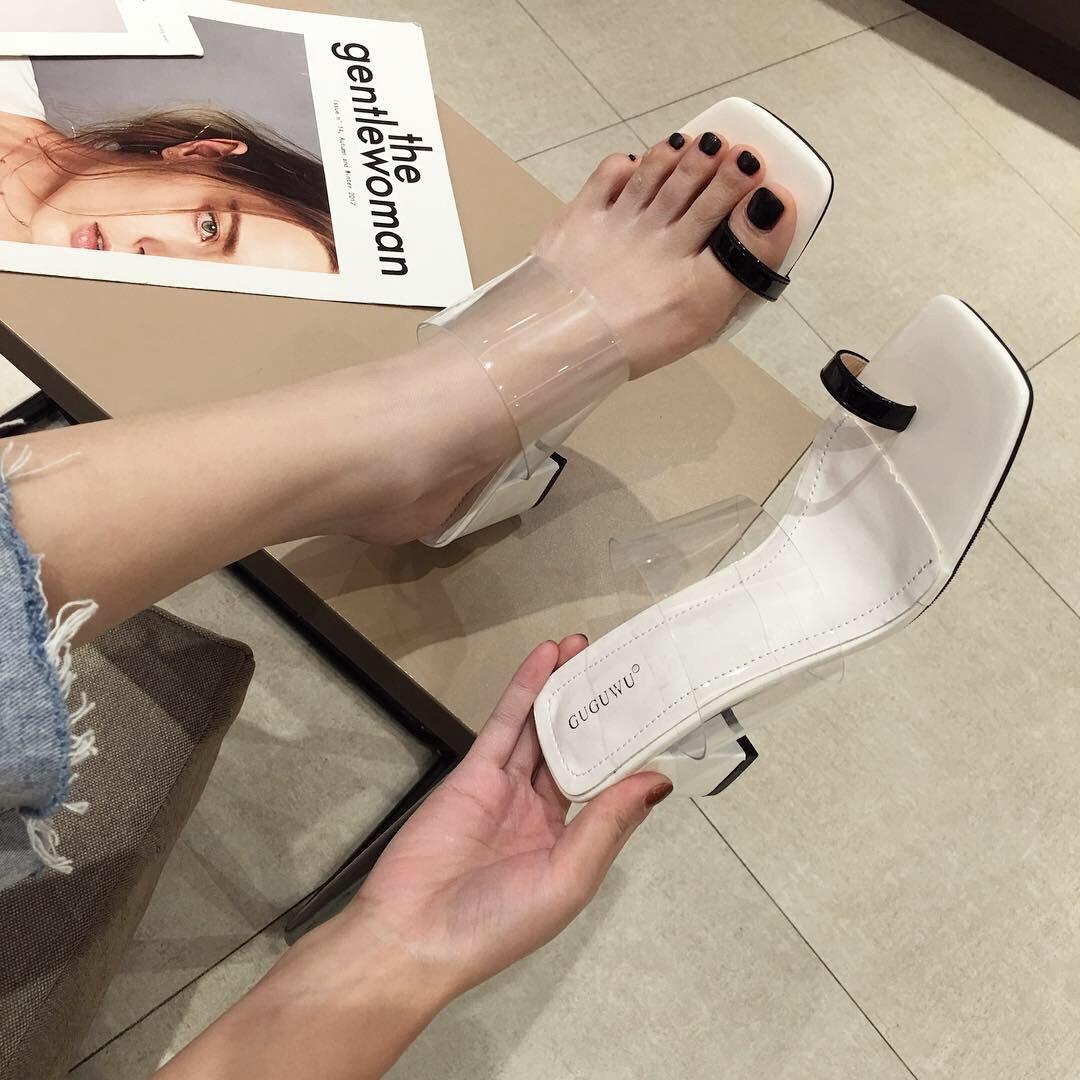 New transparent summer wear fashion high-heeled thick heel toe women's shoes NHHU198547