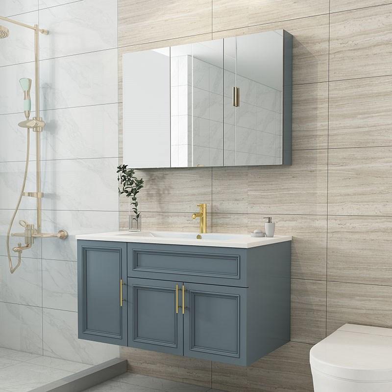 浴室柜组合现代简约实木北欧挂墙式橡木洗脸池洗手盆卫生间洗漱台