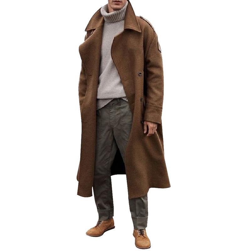 跨境亚马逊爆款欧美秋冬新款男式长款风衣超长过膝外套大衣