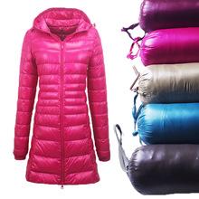 跨境女装 秋冬季连帽羽绒服 加大码轻薄款修身 中长款女外套S-7XL