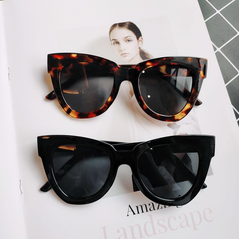 新款欧美复古猫眼太阳镜黑白条纹大框墨镜女圆脸网红防紫外线眼镜
