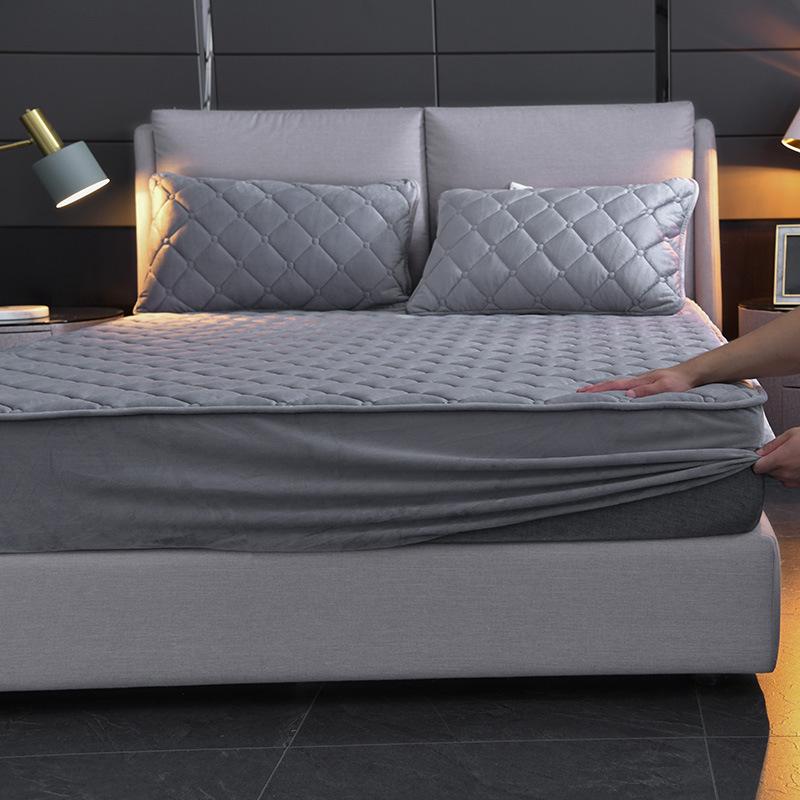 床上用品加厚加绒保暖水晶绒夹棉床笠法兰绒加棉床罩