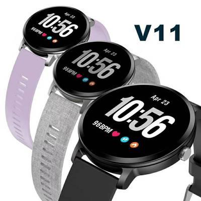 V11智能手环1.3寸圆屏彩屏心率血压蓝牙计步天气预报呼吸灯提示