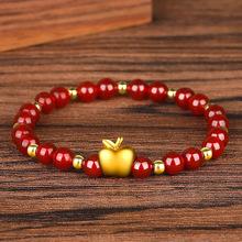 仿黄金3D硬金苹果手链女款石榴石红玛瑙手串水晶圣诞节平安夜礼物