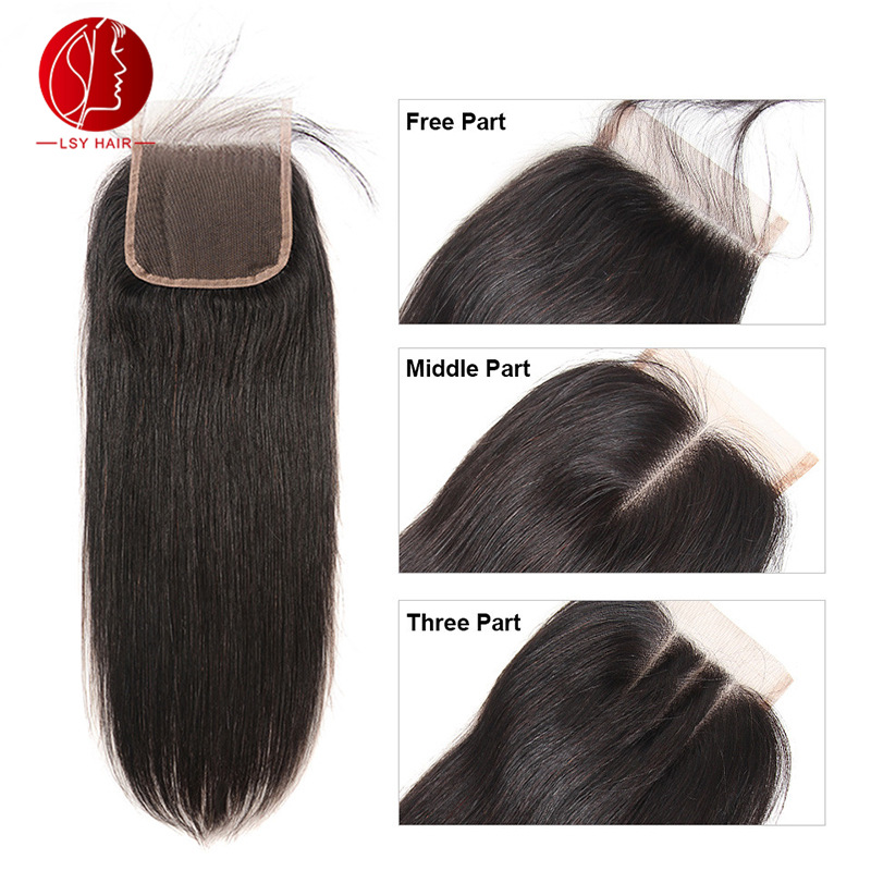 Place closure 4 * 4 hair piece lace hair block 4x4 real wig accessories European and American wig real hair