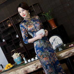 Chinese Dress Qipao for women Retro long cheongsam dress ress with large size Robes chinoises