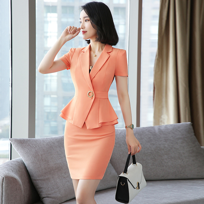 Ms. Suit Set 2019 Spring New Style Wear Female Work Clothes Short Sleeve Suit Ol Temperament Interview Dress