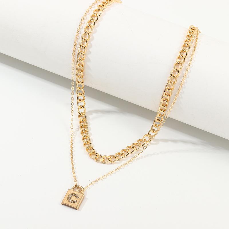 Jewelry Fashion Fashion Lock Necklace Metal C Diamond Double Layer Necklace NHNZ185917