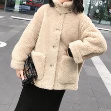 2019冬季新款羊驼毛羊剪绒大衣中长款宽松气质皮草外套女anna
