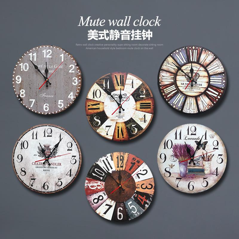 美式復古掛鐘壁飾創意客廳臥室鐘表掛表石英鐘墻上裝飾品時鐘掛件