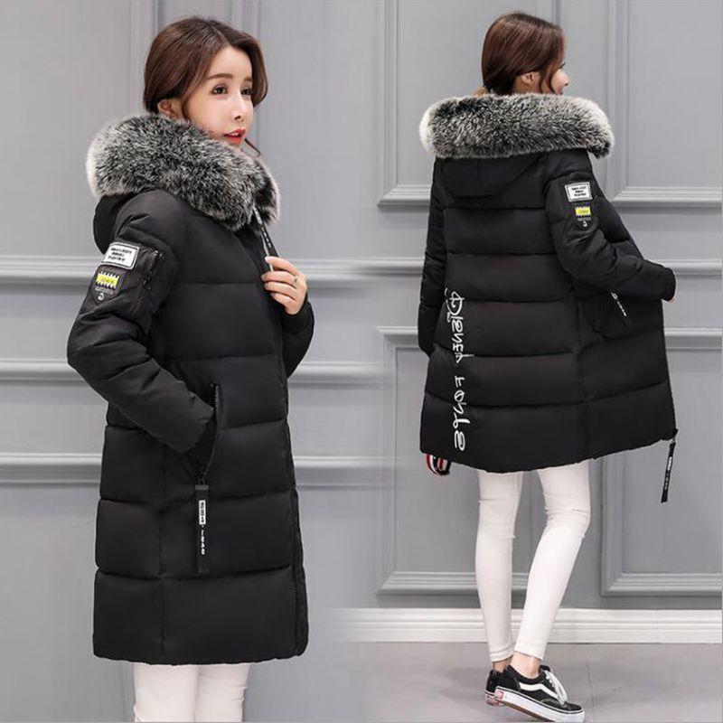 2019冬季新款羽绒服女中长款加厚韩版修身毛领连帽棉衣外套