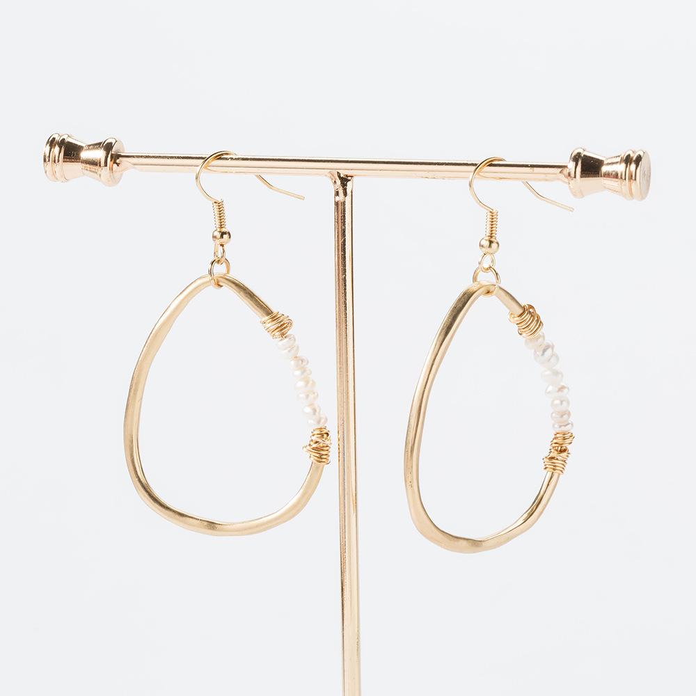 Nihaojewelry wholesale jewelry fashion golden geometric freshwater beads earrings  NHDB387528