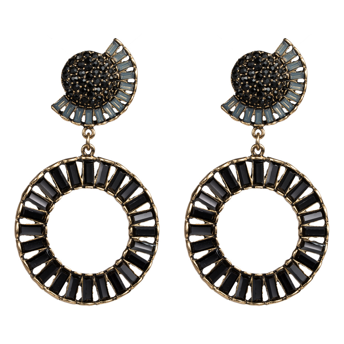 Exaggerated half-moon ring acrylic rhinestone earrings NHJE129480