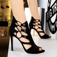 189-2 Slender Rivet Hollowed-out Sandals in European and American Roman Style Super High-heeled Waterproof Table Suede Sexy Night Club